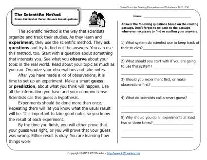 Scientific Method Matching Worksheet Worksheets For All