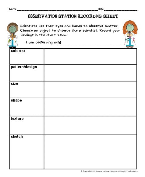 Scientific Observation Worksheet Worksheets For All