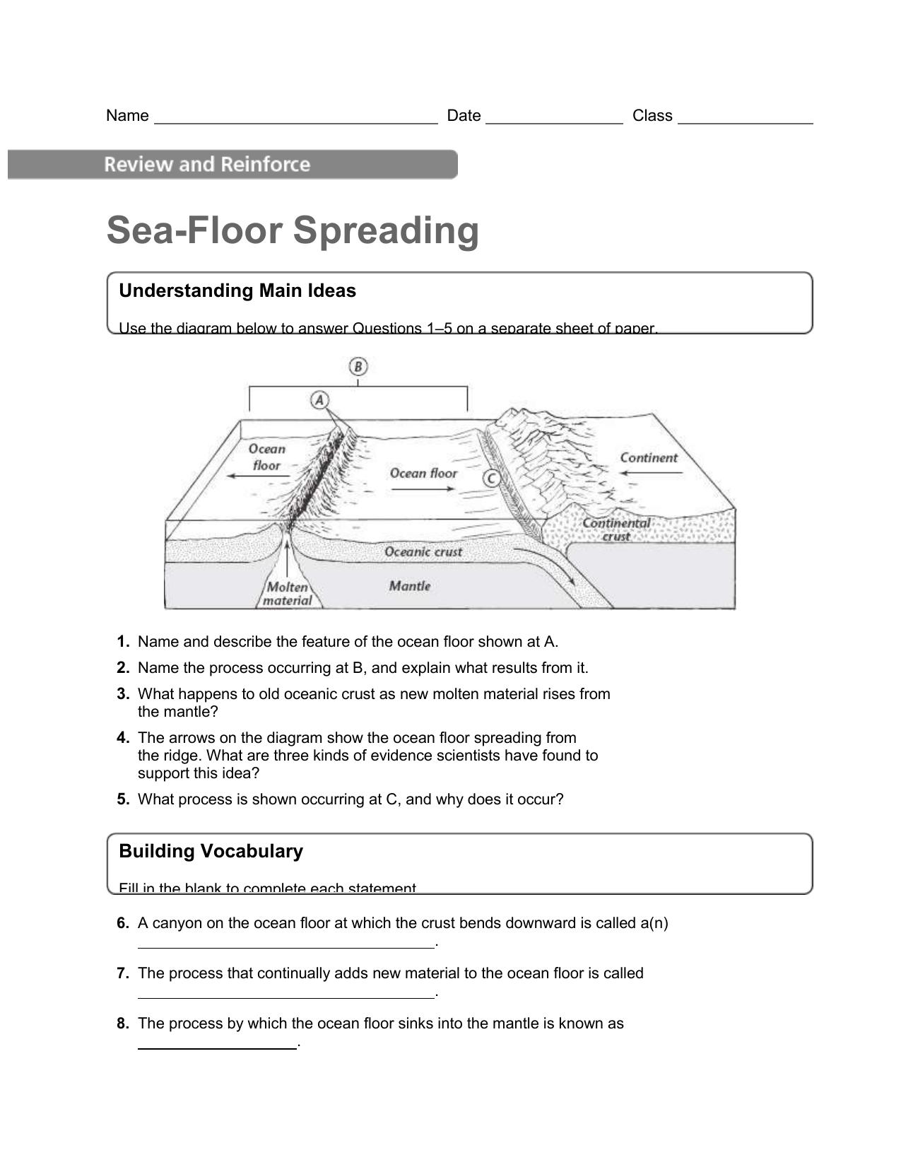 Sea Floor Spreading Worksheet Section 1 4