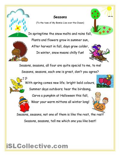 Seasons Song And Question Sheet Worksheet