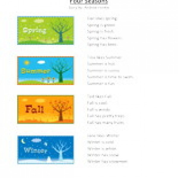Seasons Worksheets First Grade
