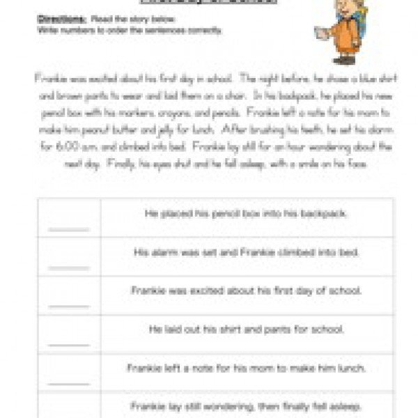 Sequence Of Events Worksheets 3rd Grade
