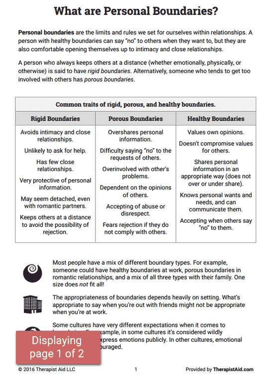Setting Boundaries Worksheet  Boundaries  Healthyrelationships