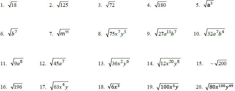 Simplifying Radical Expressions With Variables Worksheet