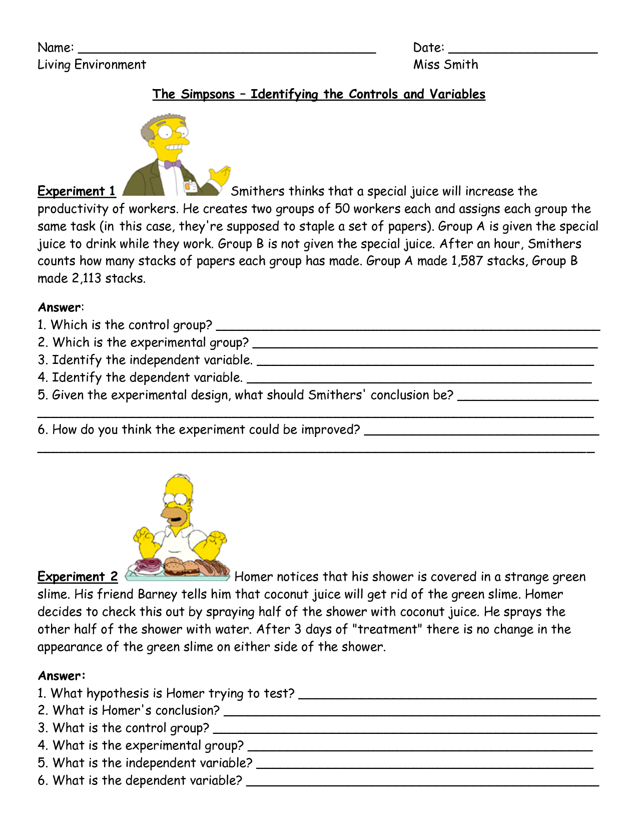 Simpsons Science Experiment Variables Examples Worksheet By Katie