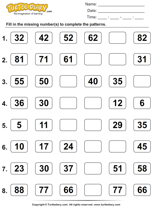 Skip Count To Find The Missing Numbers Worksheet