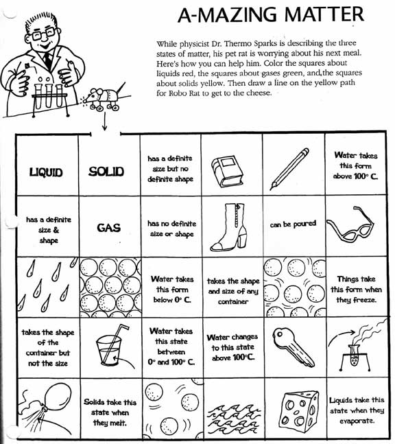 Solids Liquids And Gases Worksheet Answers Worksheets For All