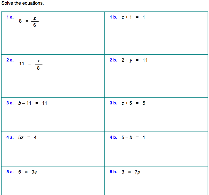Solving Multiplication And Division Equations Worksheets