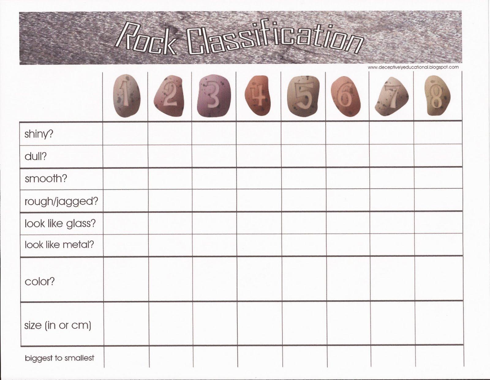Sorting Rocks Worksheets