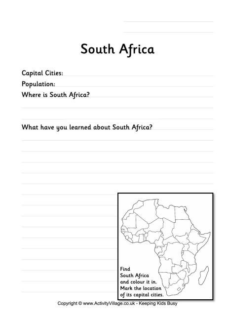South Africa Worksheet