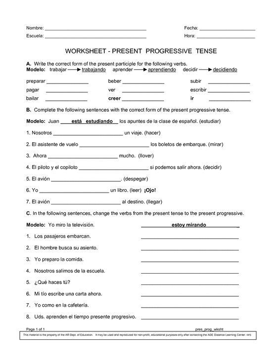 Spanish Worksheets Printables