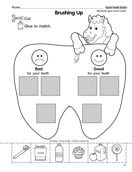 Spectacular Teeth Worksheets For Kids Madeline Brushing Up In Two
