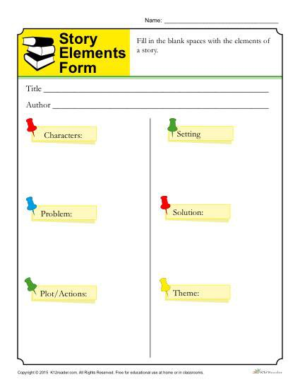 Story Elements Form Template For Students