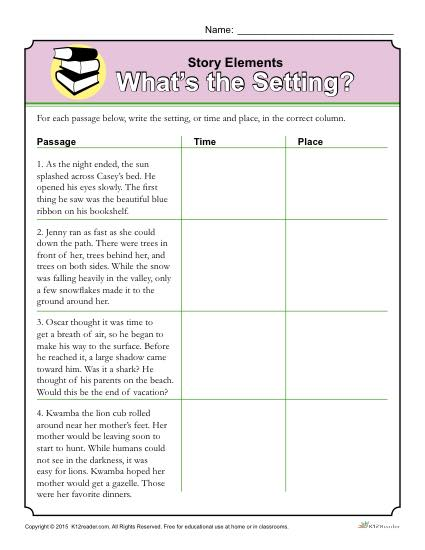Story Elements Worksheet  What's The Setting