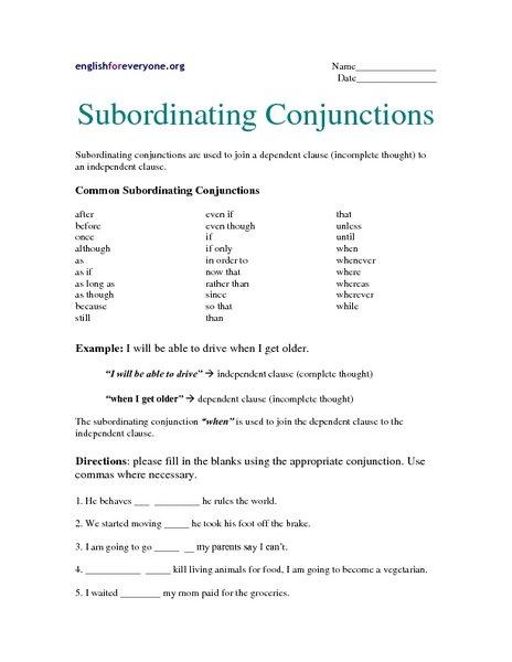 Subordinating Conjunctions Worksheets Worksheets For All