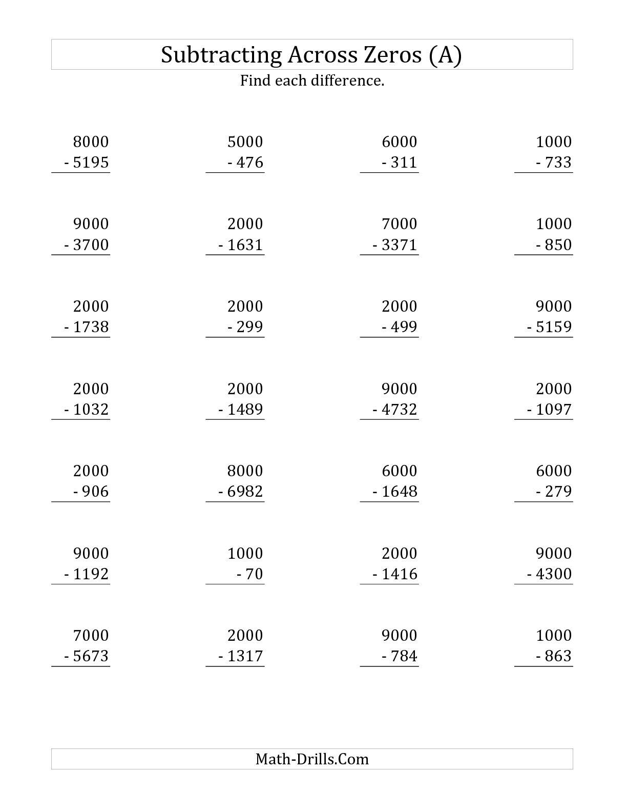 Subtracting Across Zeros Worksheets 3rd Grade Subtraction