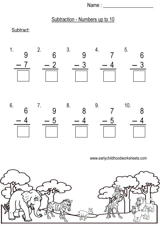 Subtraction To 10 Worksheets Worksheets For All