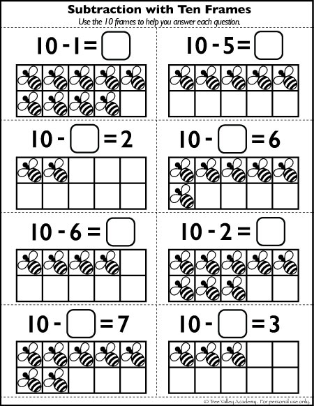 Subtraction Worksheets With Ten Frames Worksheets For All