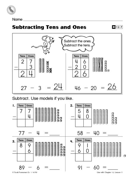 Subtraction Worksheets With Tens Worksheets For All