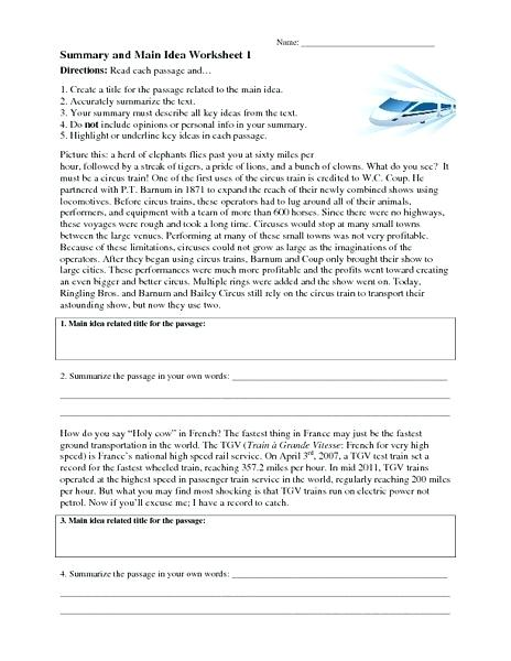 Summary And Main Idea Worksheet 1 – Streamclean Info