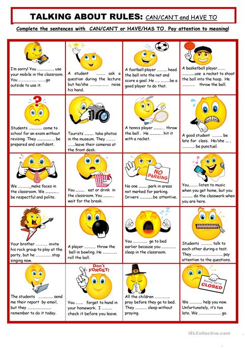 Talking About Rules Worksheet