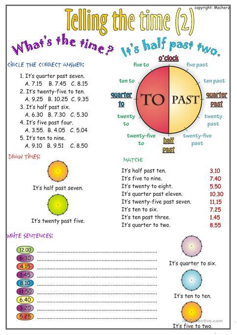 Telling The Time Worksheet Part 2 Worksheet