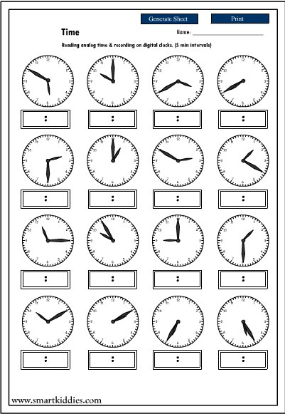 Telling Time To The Nearest Minute Worksheet Photos