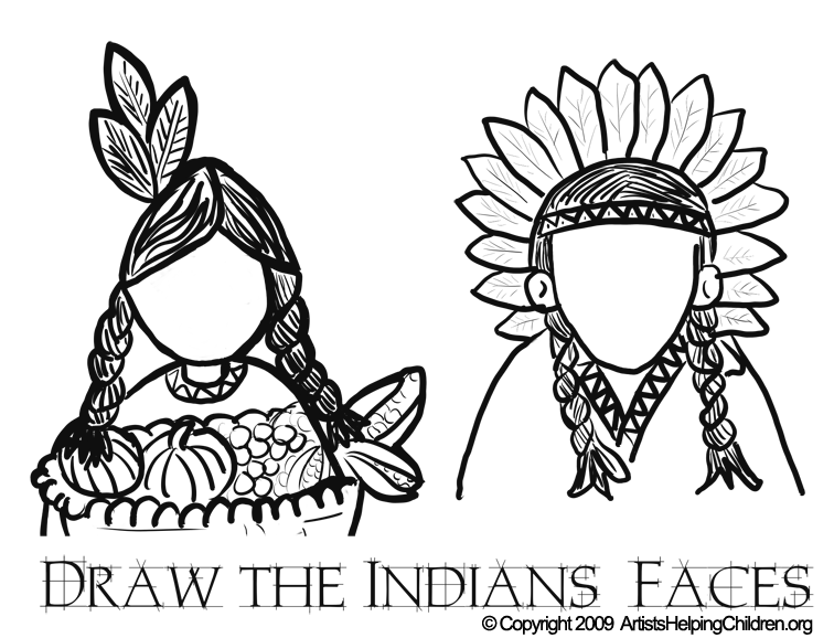 Thanksgiving Indians Coloring Pages Printouts & Draw Indians Faces