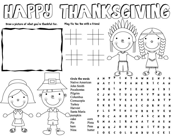 Thanksgiving Placemat, Thanksgiving Activities, Thanksgiving