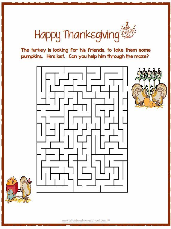 Thanksgiving Printable Mazes