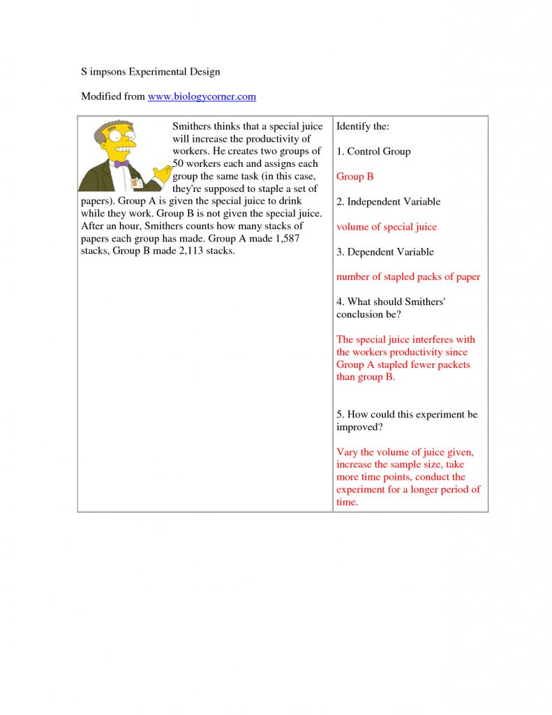 The Simpsons Science Worksheet  The  Best Free Printable Worksheets