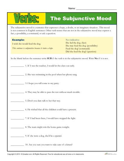 The Subjunctive Mood Verb Worksheet