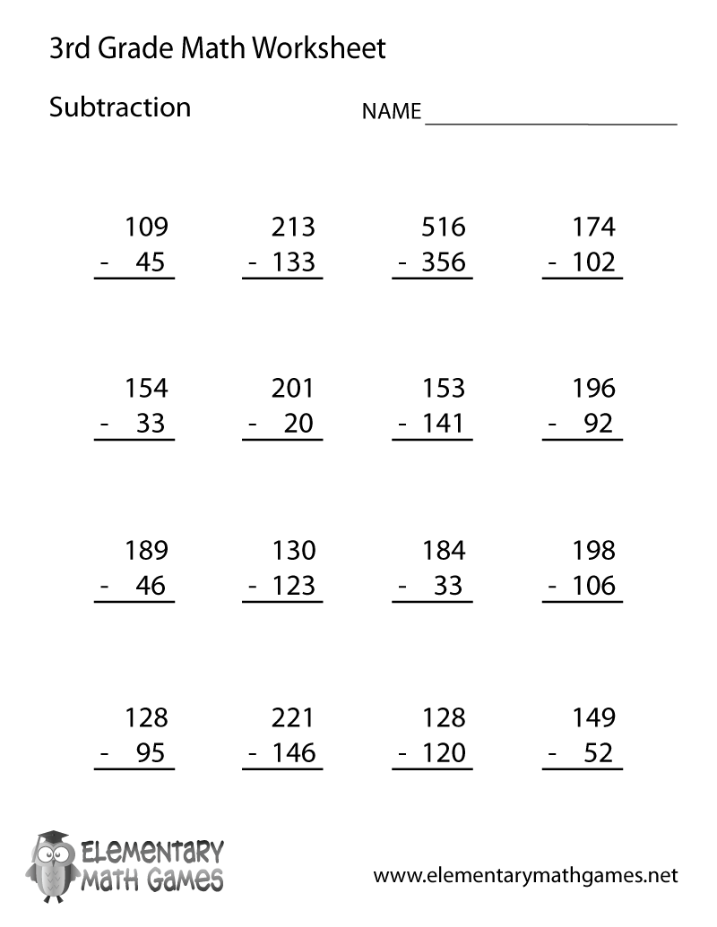 Third Grade Math Worksheets With Questions  Third  Best Free