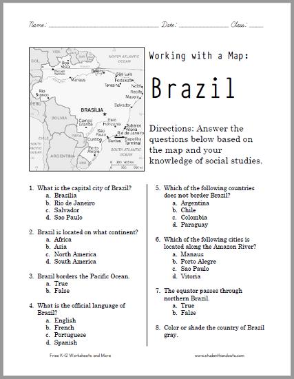 This Free Printable Map Worksheet Of Brazil Works Wonderfully For