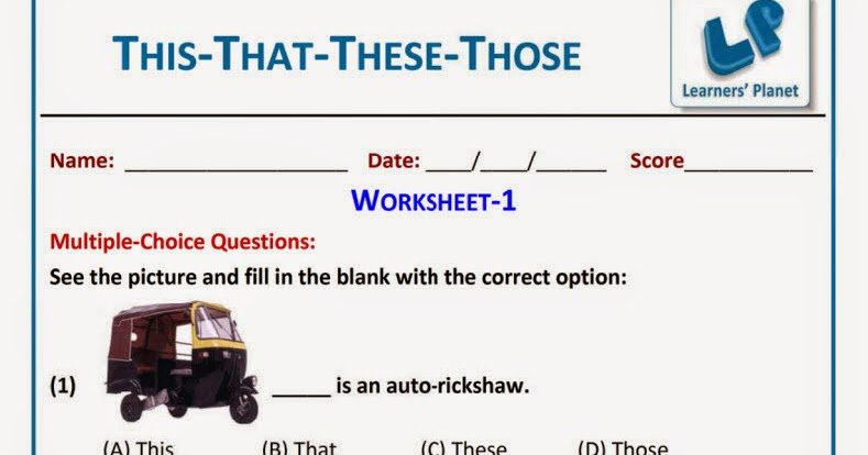 This That These Those Worksheets For Grade 1