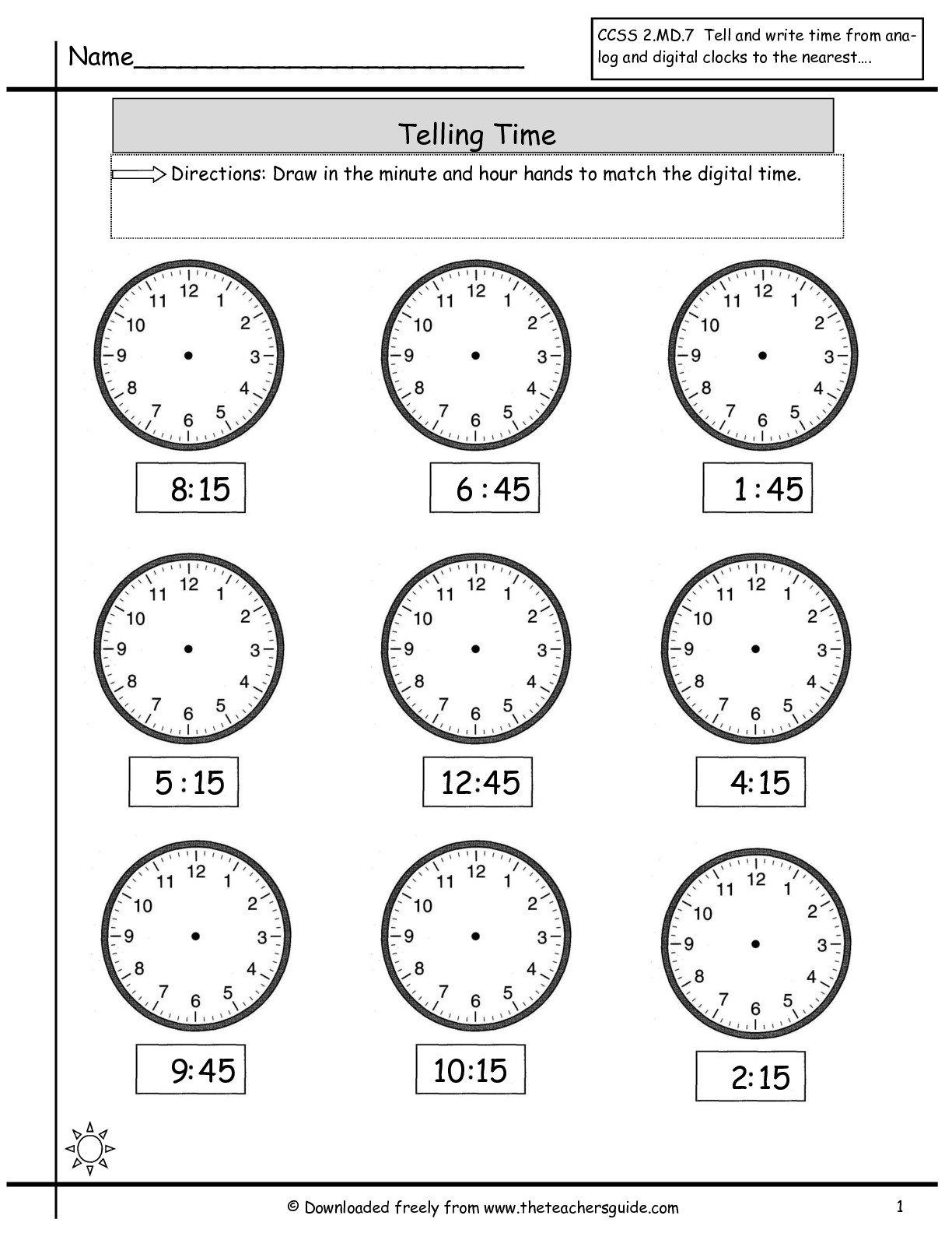 Time Worksheets Quarter Hour The Best Worksheets Image Collection