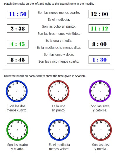 Time Worksheets Spanish Worksheets For All