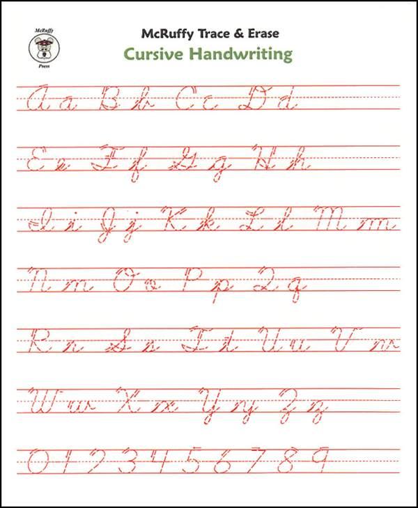 Trace & Erase Alphabet Handwriting Sheets  Cursive (008495
