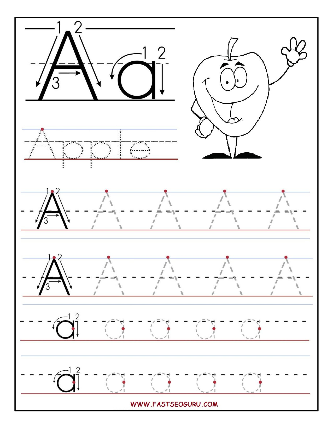 Tracing Letter A Worksheets For Preschool The Best Worksheets