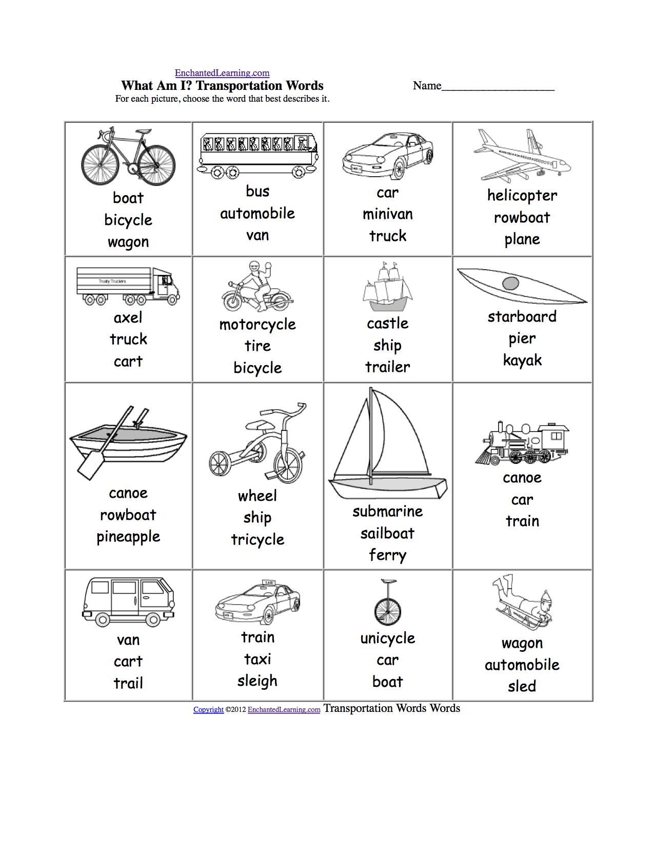 Transportation Worksheets For Kindergarten Photos