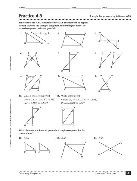 Triangle Proofs Worksheet With Answers Worksheets For All