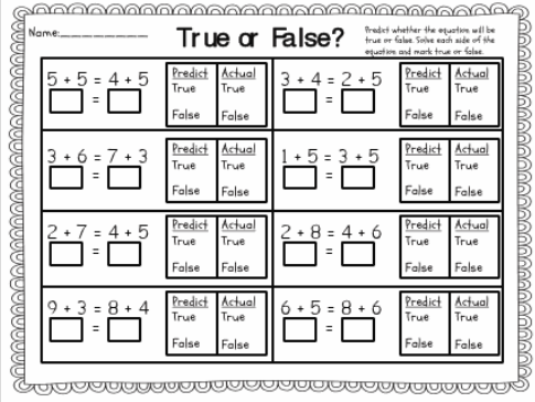 True Or False Equations First Grade