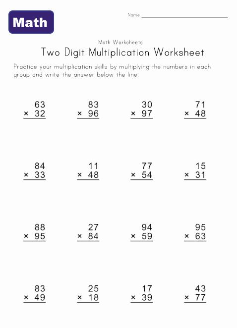 Two Digit Multiplication Worksheet 2
