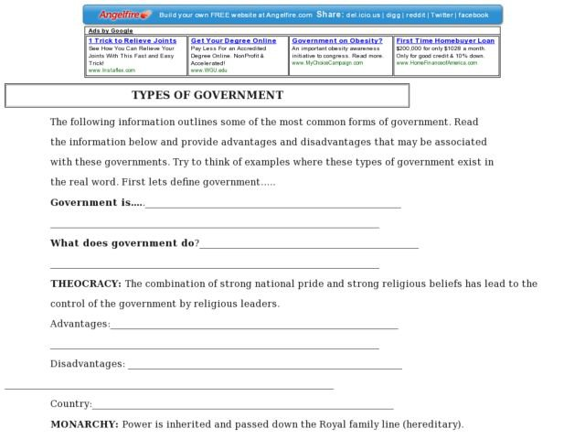 Types Of Government Worksheet Worksheets For All