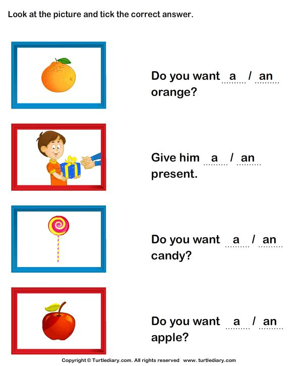 Using A And An Worksheets For Kindergarten