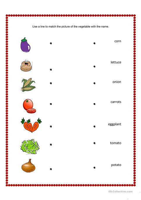 Vegetables And Fruits Match Worksheet