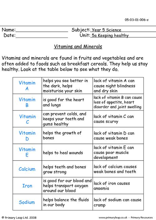Vitamins And Minerals Worksheet Worksheets For All