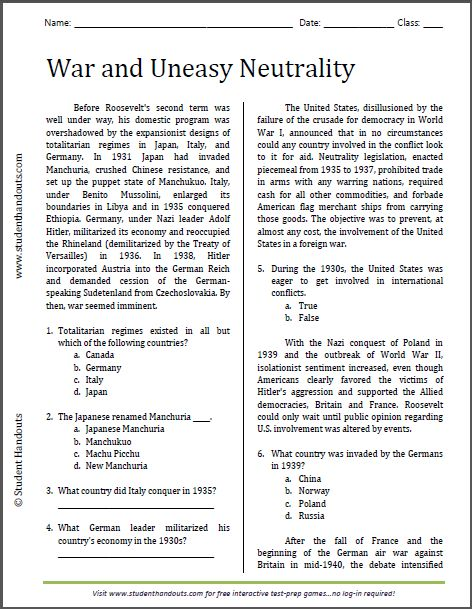War And Uneasy Neutrality