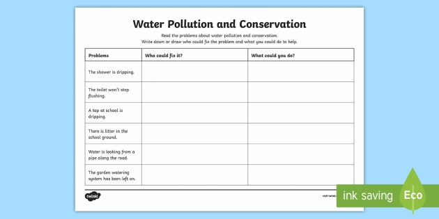Water Pollution And Conservation Problems Worksheet   Activity