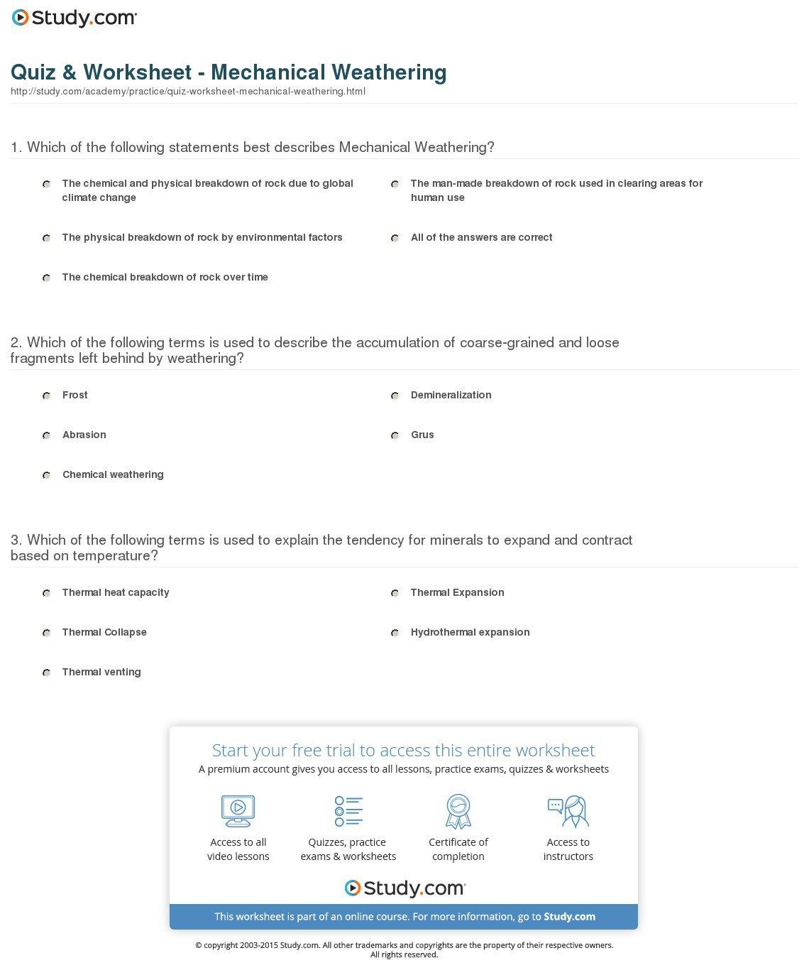 Weathering Worksheet  Worksheets  Tataiza Free Printable